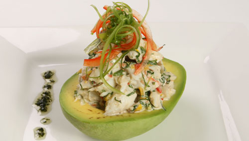 Refreshing and light, avocado and blue crab take center stage, er, plate