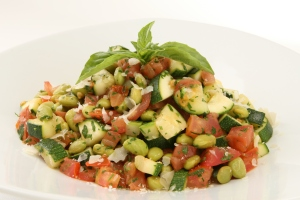 Zucchini and Tomatoes with Edamame